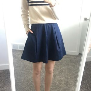 New Cos Navy Pleated Skirt With Pockets